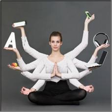 multi-tasking vrouw